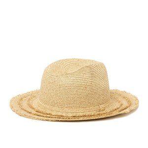 August Hat Fringe Brim Fedora Hat in natural
